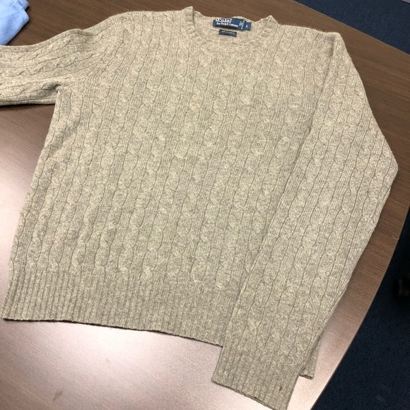 Polo By Ralph Lauren Sweaters Mens Cashmere Cable Knit Crewneck